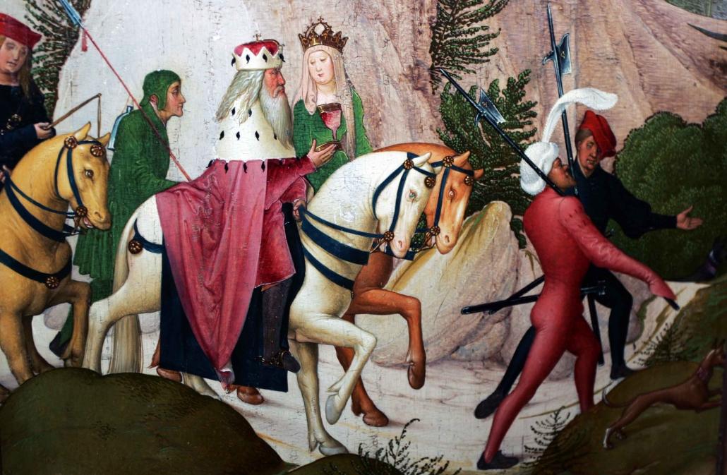 """Auf dem kunsthistorisch bedeutenden Tafelbild """"Ausritt des hl. Leopold"""" des Leopoldaltars von Rueland Fruehauf d. J. (1505) des Stiftes Klosterneuburg wird Markgraf Leopold III. hoch zu Ross auf einem Schimmel mit seiner Gattin Agnes beim Ausritt in Klosterneuburg gezeigt. © privat"""