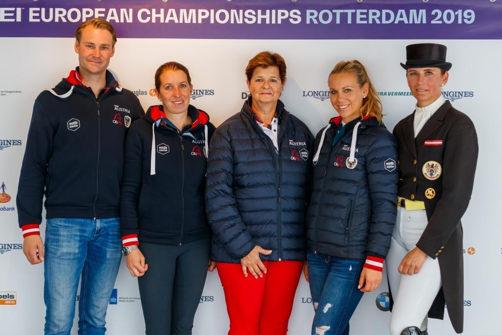 Dressur-Team Austria verpasste in Rotterdam die Olympia Qualifikation. © OEPS   Tomas Holcbecher