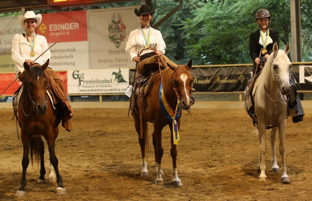 NÖ Landesmeisterschaft Ladies Side Saddle W & C: Karin Lenhard Karin, Sarah Gollowitzer und Susanne Schuh Susanne. © Christian Kellner