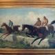 Vier Jockeys beim Hindernisspringen (Julius Blaas). © Wiener Rennverein
