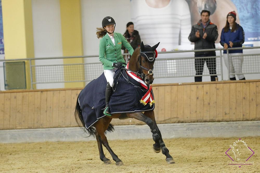 Bundeschampion der sechsjährigen Springpferde wurde Staletto ZGE v. Stakkato Gold unter Marie-Christine Sebesta (W). © Team Myrtill