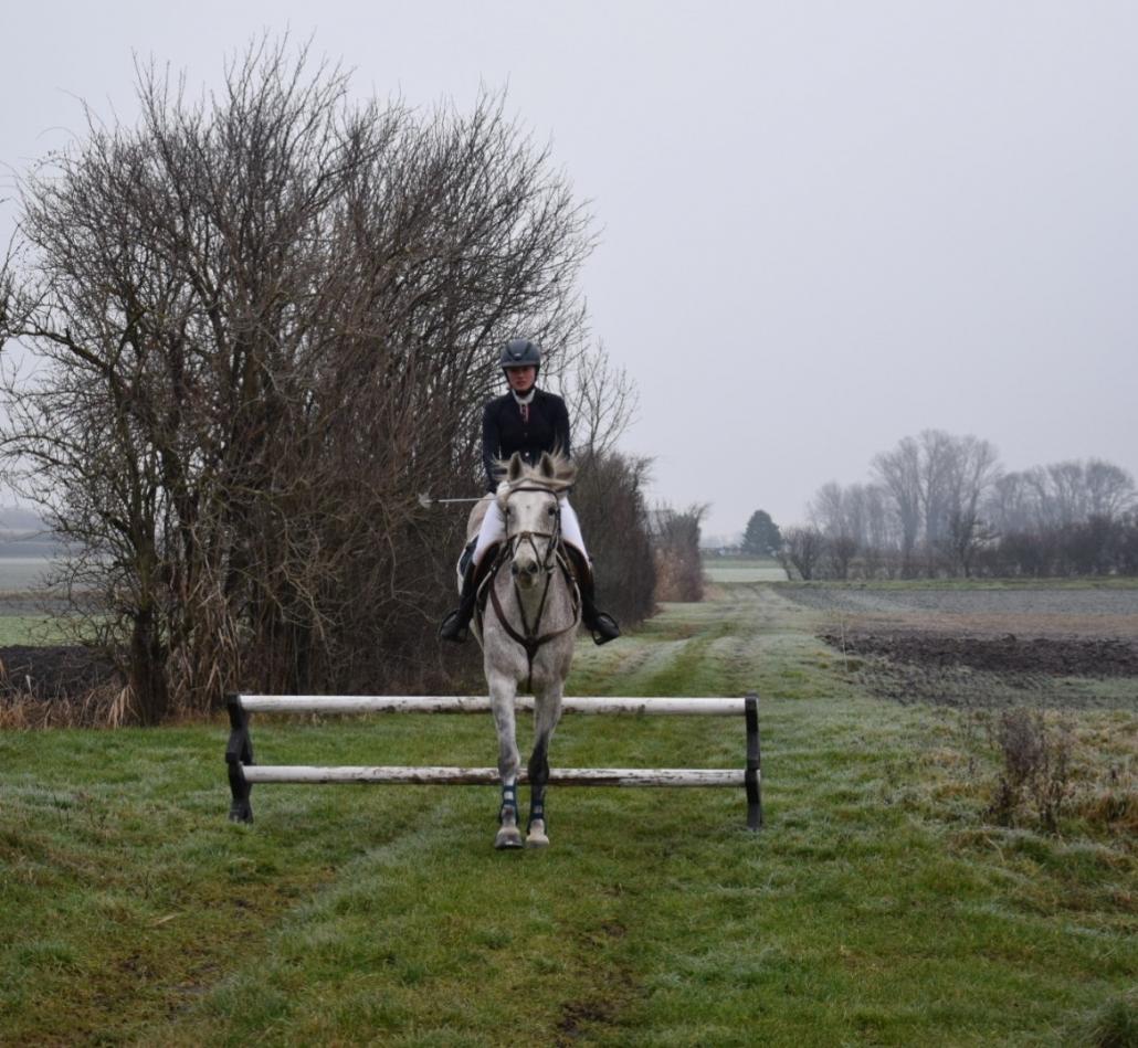 Die Juniorchefin vom Reitstall Shetty-Farm Simone Köck sprang auf der Feldstrecke der Reitanlage in der Brucker Pforte ins neue Jahr. © Leonie Kohl