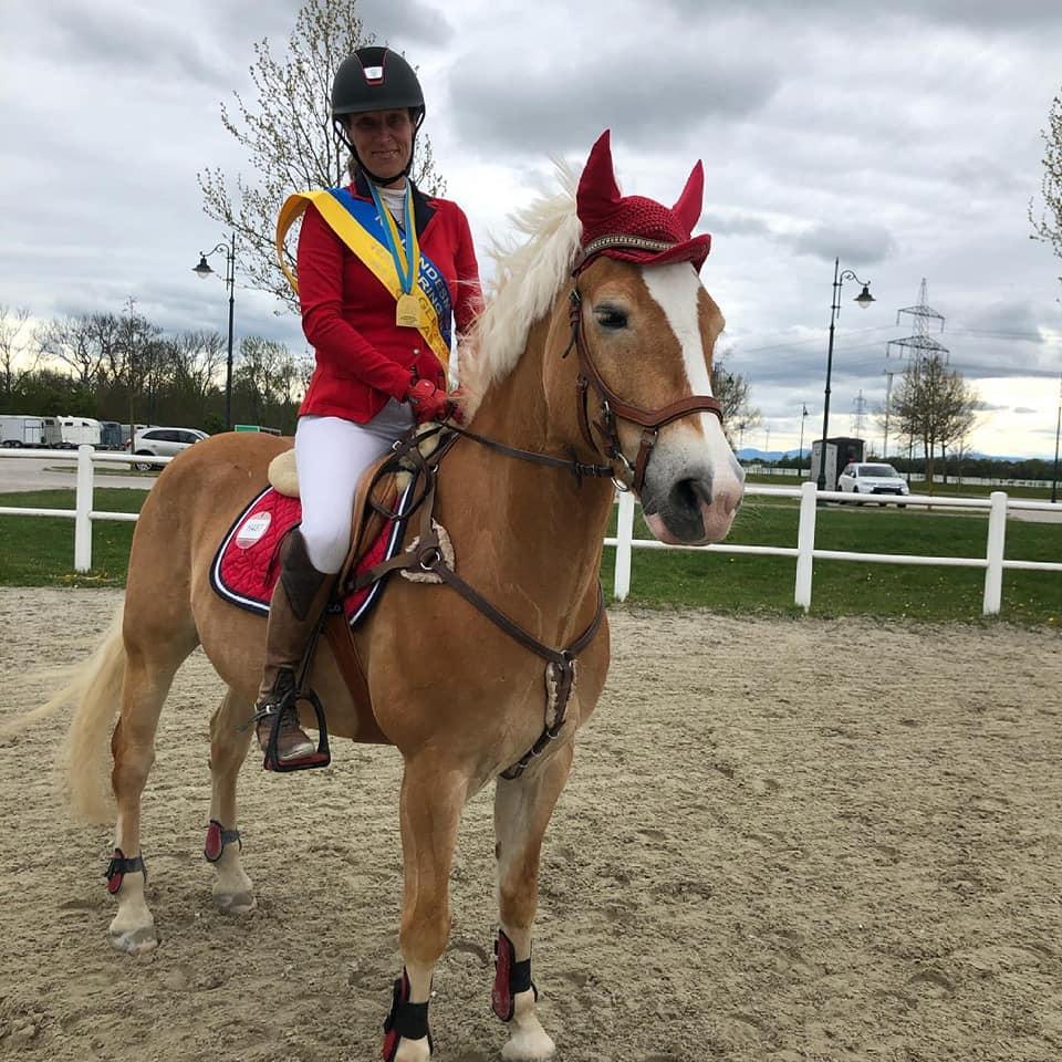 Birgit Sturm und Amicelli BS wurden Landesmeister Haflinger Springen Allgemeine Klasse /Junge Reiter. © privat